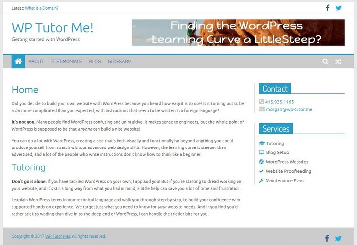 Static front page laid out in a traditional in a conventional blog theme style using the Colormag theme
