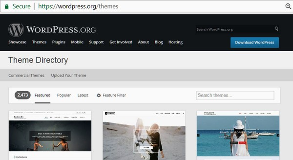 Screenshot of the WordPress theme repository at https://wordpress.org/themes/