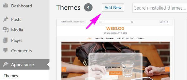 An arrow points to the Add New button on the Appearance/Themes screen on the WordPress Dashboard