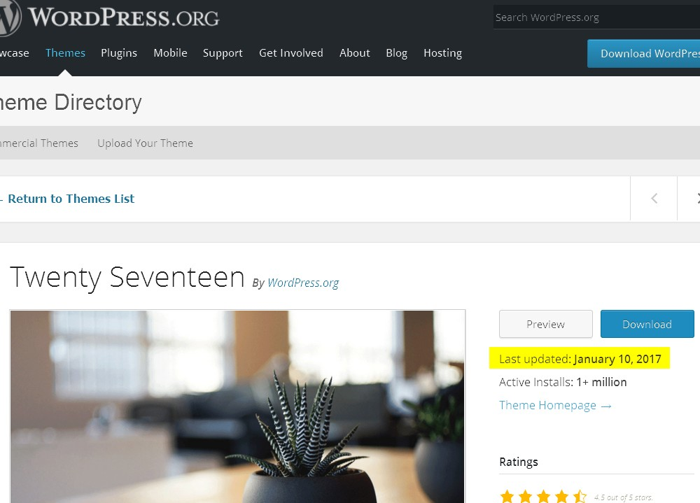 WordPress.org description page with the date of the latest update highlighted