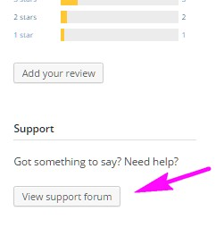 Screenshot of the View Support Forum button below the star rating graphic on the theme description page