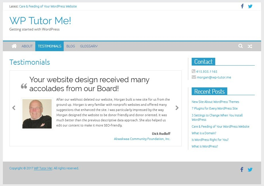 Screenshot of the Restimonials page showing a centered text box with a blockquote and a photo of the client